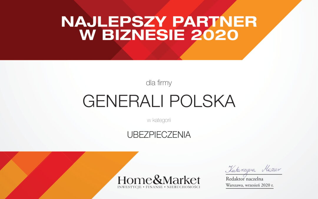 Generali z tytułem Najlepszego Partnera w Biznesie 2020